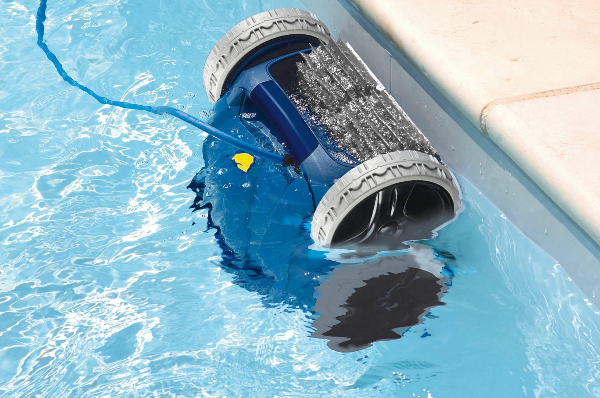 robotic pool cleaner under water